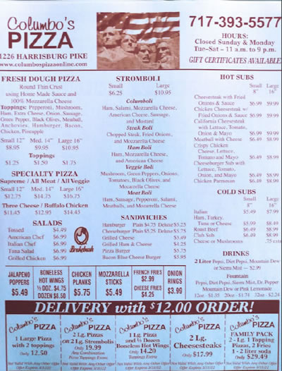 photo about Menu Printable named Columbos Pizza Lancaster PA - Printable Menu